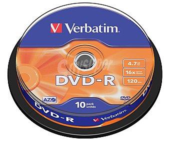 Verbatim Tarrina de 10 dvd-r 4,7GB 16x verbatim