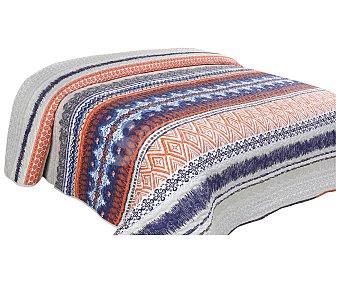 Auchan Colcha boutí 100% microfibra con diseño de rayas tonos azules y naranjas, cama individual auchan
