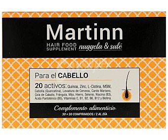 Martinn Complemento alimenticio, sin gluten, ni lactosa, para el cuidado del cabello 60 comprimidos