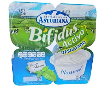 Central Lechera Asturiana Yogur bífidus desnatada natural Pack 4 Unidades de 125 Gramos