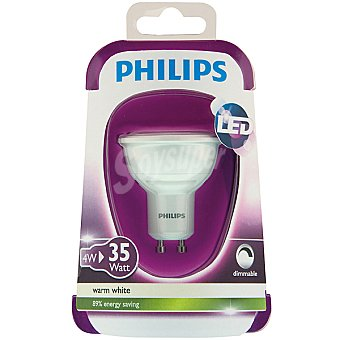 Philips 4W (35 W) lámpara led blanco cálido GU10 Dicroica 1 unidad