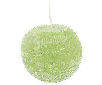 Auchan Vela con forma de bola de 100 milímetros, con acabado rústico de color verde anís 1 unidad