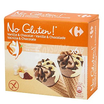Carrefour Conos con helado de vainilla y chocolate No gluten sin gluten 6 ud 6 ud