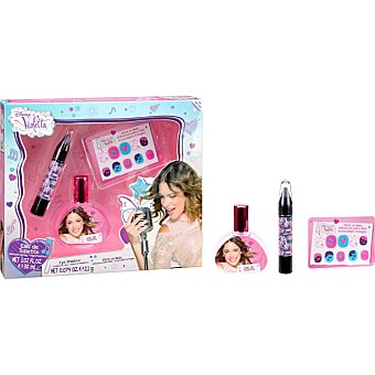DISNEY Violetta eau de toilette natural infantil + lápiz sombra de ojos + adhesivos para uñas spray 30 ml