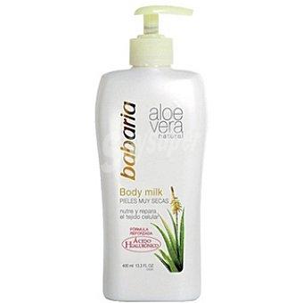Babaria Crema corporal con aloe vera natural body milk piel muy seca Dosificador 400 ml