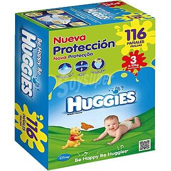 Huggies Pañales Duo de 4 a 10 kg talla nueva protección 3 caja 116 unidades