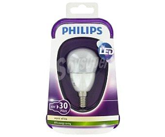 Philips Esférica Led, 4W(equivalencia 30W), casquillo E14, blanca cálida, 230V, forma P45 Mate , No regulable 1 Unidad