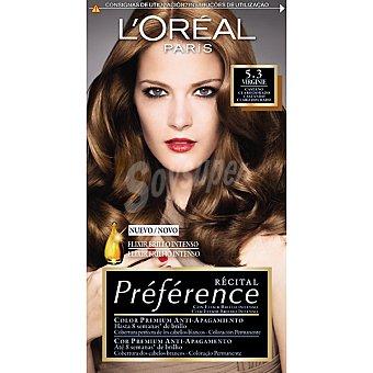 Recital Preference L'Oréal Paris Tinte castaño claro dorado nº 5.3 Virginie con elixir brillo intenso coloración permanente Caja 1 unidad