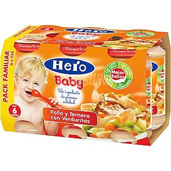 HERO BABY tarrito de pollo y ternera con verduritas pack familiar envase 1500 g 6x250g