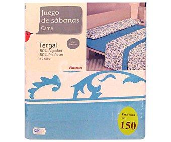 Auchan Juego de sábanas etampadas, modelo Robledo en tonos turquesa para cama de 150 centímetros, 1 unidad