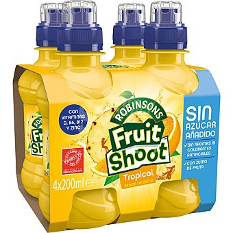 Fruit Shoot Refresco de tropical sin gas pack 4 botella 20 cl Pack 4 botella 20 cl