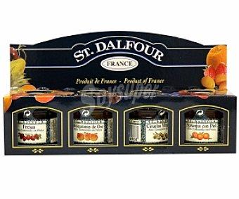 St. Dalfour Mermeladas variadas (fresa, melocotón, ciruela y naranja) 4 Unidades de 28 Gramos