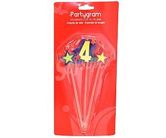 PARTYGRAM Velas (2 estrellas y número 4) Pack de tres