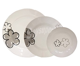 GSMD Vajilla de 18 piezas modelo Blossom, diseño redondo de color blanco con notas de alegres y llamativos colores 1 Unidad