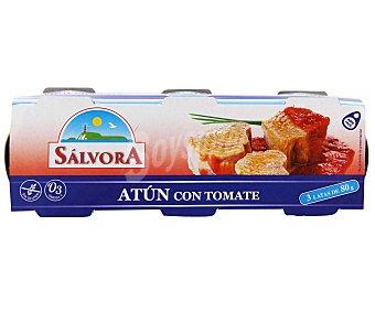 SALVORA Atún en salsa de tomate Pack 3x52 gramos
