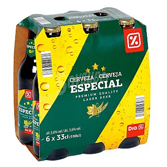 DIA Cerveza rubia especial pack 6 botellas 33 cl Pack 6 botellas 33 cl