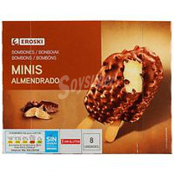 Eroski Mini bombón almendrado Pack 8x60 ml