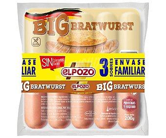 ElPozo Salchichas cocidas tipo Bratwurst, sin gluten y sin colorantes Big 3 x 180 g