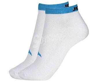 JOMA Pack de 2 pares de calcetines deportivos tobilleros invisibles, color blanco y azul fluor, talla 39/42 Pack de 2