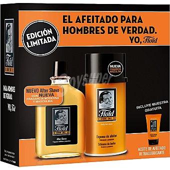 Floïd Estuche de afeitado con after shave con fragancia moderna y masculina + espuma de afeitar hidratante y protectora + aceite de afeitado ultralubricante