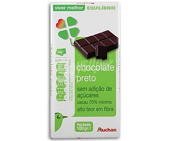 Auchan Chocolate negro 70% cacao, sin azucares añadidos 100 gramos