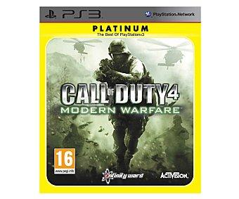 Activision Videojuego Call of Duty 4: Modern Warfare edición Platinum para Playstation 3. Género: acción, shooter, fps, bélico. Recomendación por edad pegi: +16 4:Modern W. Ps3