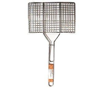 GARDEN STAR Parrilla rectangular de acero cromado, especial para hacer hamburguesas a la plancha, 34x22 centímetros 1 unidad