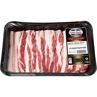 JULIAN MARTIN Panceta fresca en lonchas de cerdo ibérico peso aproximado Bandeja 600 g