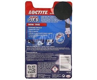 Loctite Super glue-3 Mini Trío adhesivo en monodosis universal instantáneo envase 3x1 g 3 unidades de 1 g