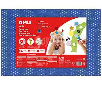 APLI Plancha de foam, goma eva de color azul con puntos azules imitando a una malla metálica y dimensiones 400x600x2 milímetros 1 unidad