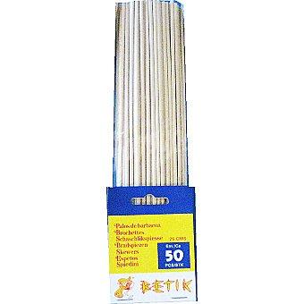 BETIK Palillos redondos barbacoa 250 x 3 mm Bolsa 50 unidades
