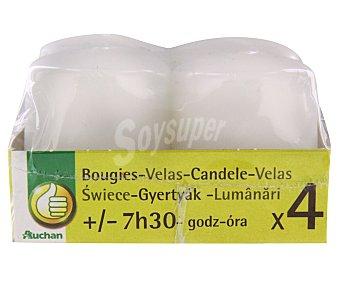 Productos Económicos Alcampo Pack de 4 velas cilíndricas de color blanco alcampo