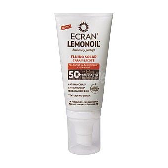 Ecran Sunnique broncea y protege fluido solar para cara y escote SPF-50+ anti-manchas y anti-arrugas resistente al agua Tubo 50 ml