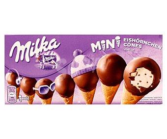 Milka Mini conos de vainilla y chocolate Caja 8 u x 25 ml (200 ml)