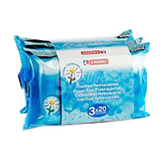Eroski Toallita refrescante Pack 3x20 unid