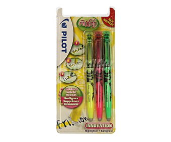 Pilot Lote de 3 marcadores fluorescescentes borrables de color amarillo, rosa y verde 1 unidad