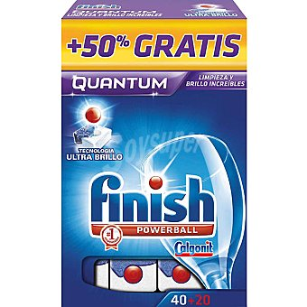Finish Detergente lavavajillas Power Ball Quantum Caja 40 pastillas