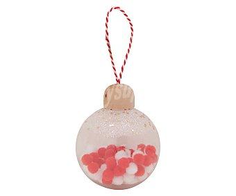 Actuel Bola para árbol de navidad transparente color rojo y blanco, tamaño 7,8 centímetros, actuel.
