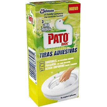 Pato Desinfectante WC en tiras adhesivas con fragancia a lima fresca Caja 3 unidades