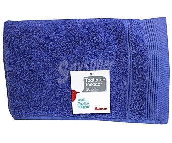 Auchan Toalla 100% algodón lisa para tocador, color azul, 30x50 centímetros 1 Unidad