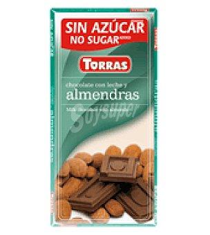 Torras Chocolate con leche y almendras s/a 75 g.