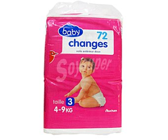 Auchan Pañales Basic para Niños de 4 a 9 Kilogramos Talla 3 48u