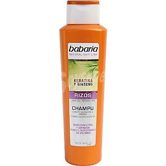Babaria Champú rizos con keratina y ginseng para cabello rizado frasco 500 ml reduce el encrespamiento y da volumen Frasco 500 ml