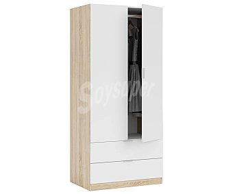 FORÉS Armario compuesto de 2 puertas y 2 cajones, fabricado con fuerte melamina color blanco, 180X81X52 cm, FORES.