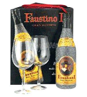 Faustino I Estuche cartón con 1 botella de vino d.o.ca. Rioja Tinto Gran Reserva 75 cl + 2 copas