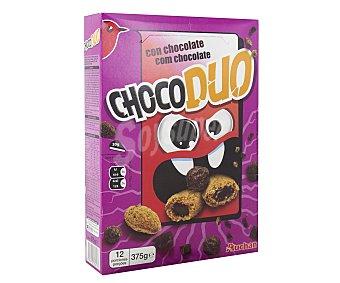Auchan Cereales de maíz, trigo y avena chocolateados y cereales de arroz, trigo y avena rellenos de chocolate 375 gramos