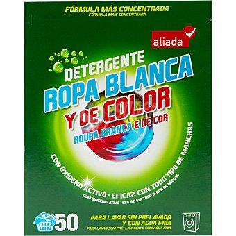 Aliada Detergente máquina polvo para ropa blanca y de color con oxígeno activo Maleta 50 cacitos