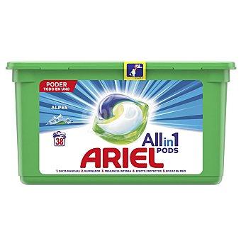 Ariel Alpine detergente máquina líquido 3 en 1 Pods ápsulas Caja 38 c