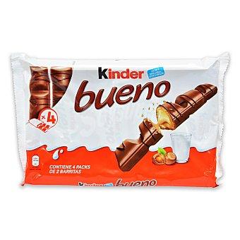Kinder Barrita de chocolate con leche relleno de crema de avellanas Kinder Bueno Pack de 4 unidades de 43 g