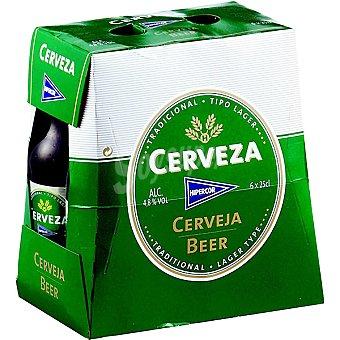 Hipercor Cerveza rubia nacional pack 6 botella 25 cl Pack 6 botella 25 cl